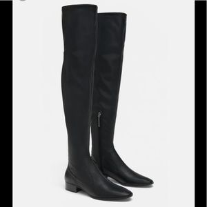 ZARA Black Silver Studded Over The Knee High Boot